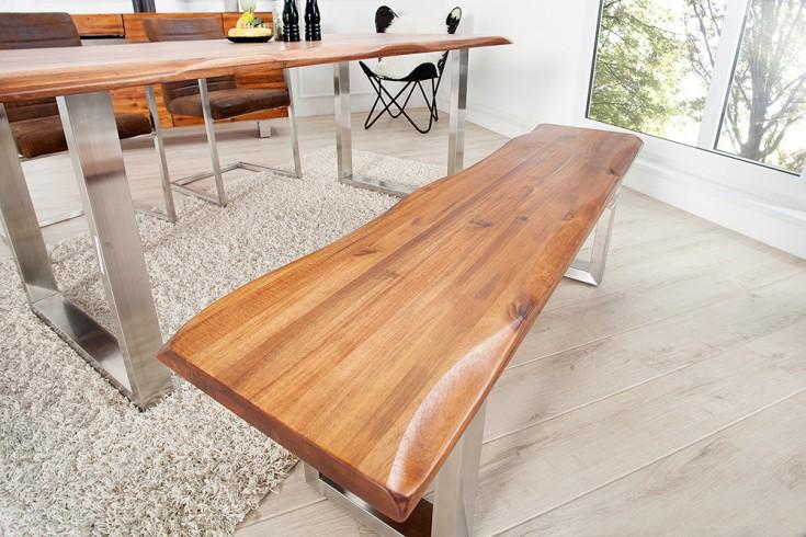 Massive Baumstamm Bank GENESIS 160cm Akazie Massivholz Baumkante Sitzbank mit Kufengestell aus Edelstahl