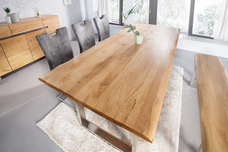 Massiver Baumstamm Tisch GENESIS 220cm Eiche Massivholz Baumkante Esstisch mit Kufengestell aus Edelstahl