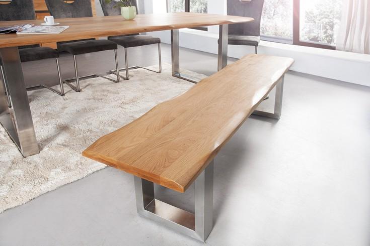Massive Baumstamm Bank GENESIS 180cm Eiche Massivholz Baumkante Sitzbank mit Kufengestell aus Edelstahl