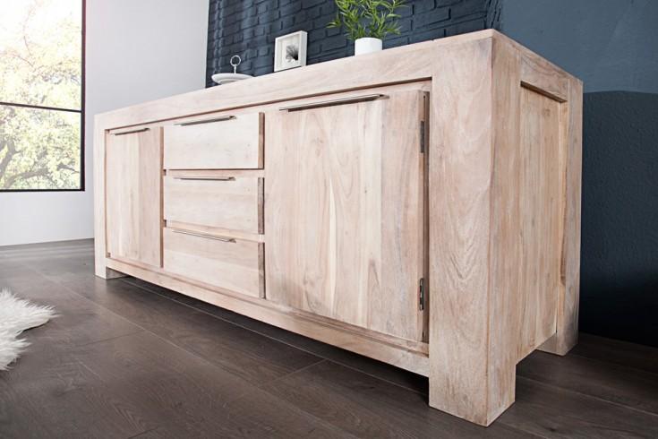 Sideboard MAKASSAR Akazie180cm Kommode Massiv Holz weiss gekälkt
