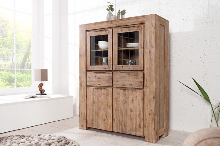 Massives Highboard GIANT Akazie teakgrau gekälkt 140cm