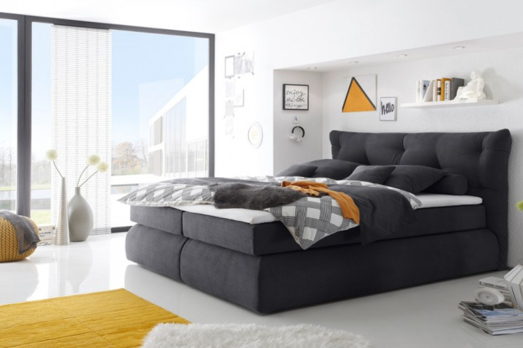 luxus boxspringbett madison 180x200 cm anthrazit microvelour inkl matratze und topper hotelbett. Black Bedroom Furniture Sets. Home Design Ideas