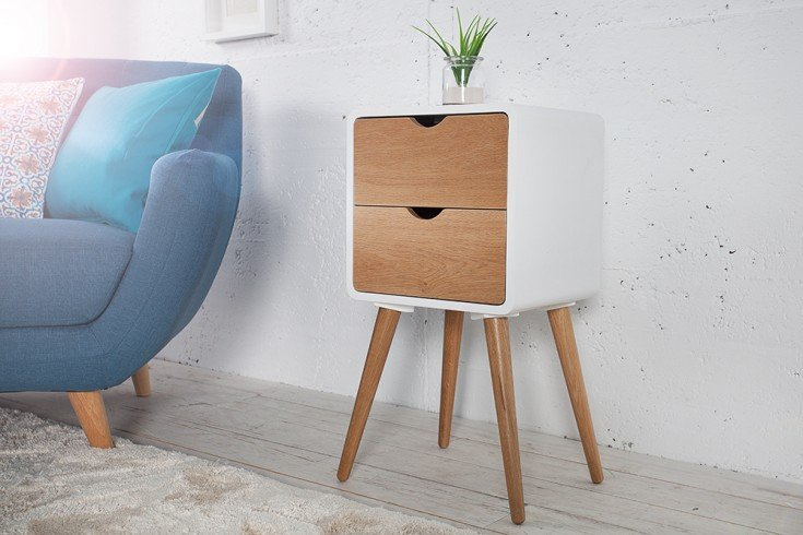 Retro Beistelltisch SCANDINAVIA 35cm weiß Eiche Nachttisch mit 2 Schubladen