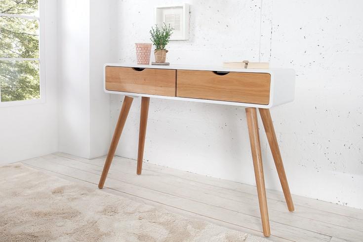 Design Retro Konsole SCANDINAVIA weiß Eiche 100cm Schreibtisch mit 2 Schubladen Sekretär