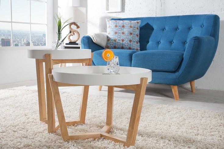 Design Retro 2er Set Beistelltische SCANDINAVIA weiß Eiche mit abnehmbarer Tablett Tischplatte