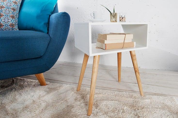 Design Retro Beistelltisch SCANDINAVIA 40cm weiß Eiche Nachttisch mit Ablagemöglichkeit