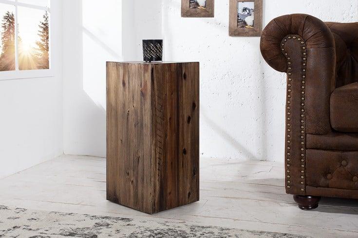 Hochwertige Dekosäule COLUMNA 50cm massive Akazie in Vintage Braun Beistelltisch