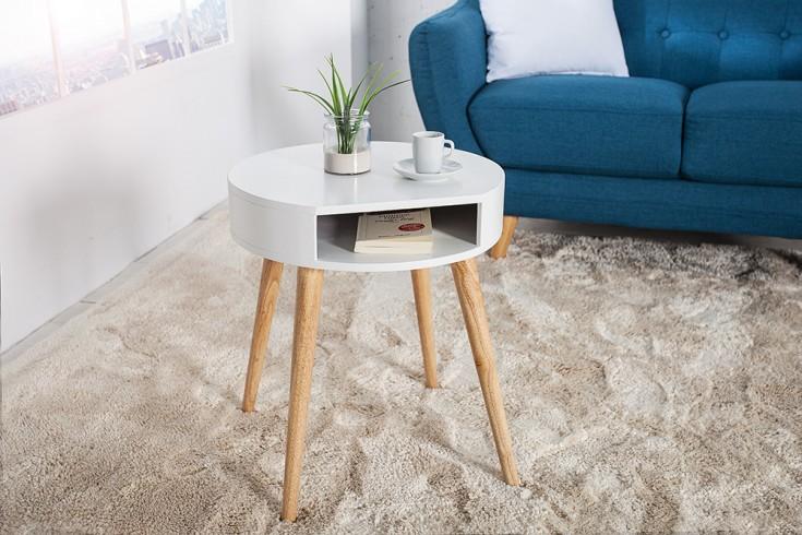 Design Retro Beistelltisch SCANDINAVIA weiß Eiche Nachttisch mit Ablagefach