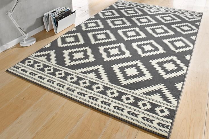 Dekorativer Design Teppich ETHNO 160x230cm Grau Creme Aztekenmuster