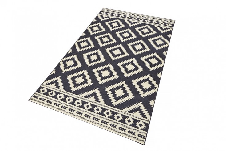 dekorativer design teppich ethno 160x230cm grau creme. Black Bedroom Furniture Sets. Home Design Ideas