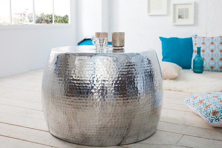 Design Beistelltisch ORIENT 60cm Hochwertige Nickel Aluminiummetall Legierung Silberfarbig Hammerschlag Optik