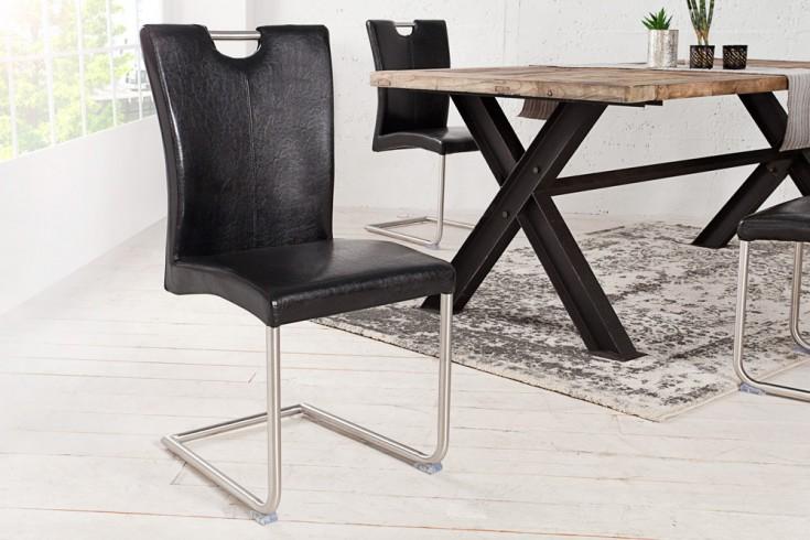 Freischwinger Stuhl BUFFALO Antik schwarz mit Edelstahlgestell