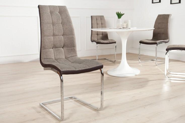 Moderner Freischwinger Stuhl LONDON braun mit Ziersteppung