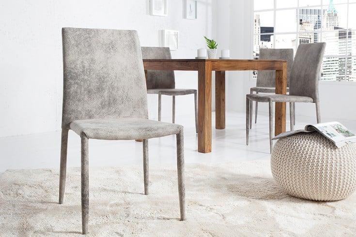 Exklusiver Design Stuhl MILANO Antik Grau mit edlem Stoff bezogen