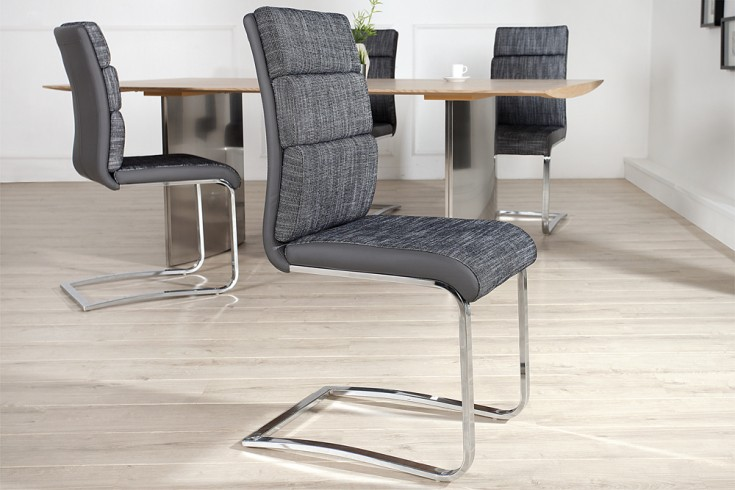 design freischwinger stuhl wellness strukturstoff anthrazit grau flachstahl riess. Black Bedroom Furniture Sets. Home Design Ideas