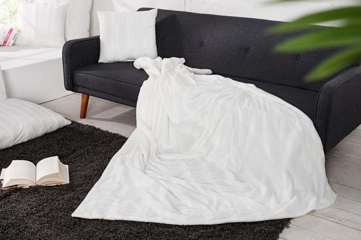 Edles Design Wildfell TIBET 150x200cm weiß Plaid Decke in Wildfell-Optik