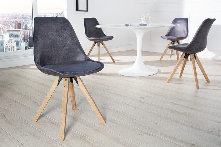 Stuhl SCANDINAVIA MEISTERSTÜCK Massivholzbeine Antique Grau im Retro Trend