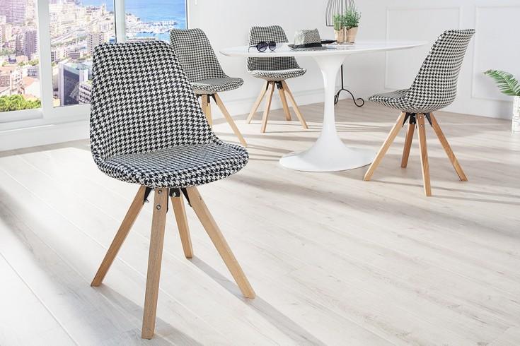 Retro Stuhl SCANDINAVIA MEISTERSTÜCK schwarz weiß Massivholzbeine
