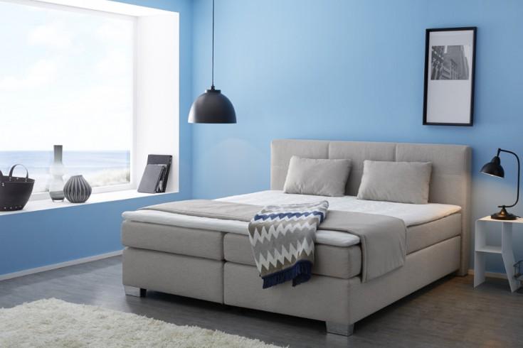 zeitloses boxspringbett lyon 180x200 cm grau beige inkl. Black Bedroom Furniture Sets. Home Design Ideas