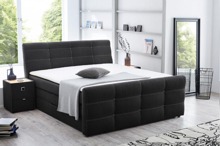 Hochwertiges Boxspringbett GRANADA 180x200 cm anthrazit Bettkästen inkl. Matratze und Topper