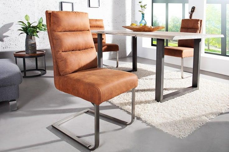 Design Freischwinger Stuhl COMFORT  Vintage Light Brown Flachstahl aus gebürstetem Edelstahl