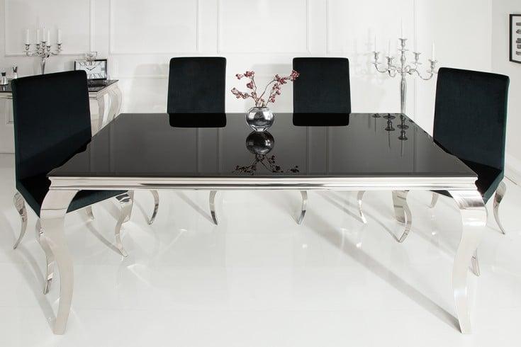 Eleganter Design Esstisch MODERN BAROCK 180cm schwarz Edelstahl Opalglas Tischplatte