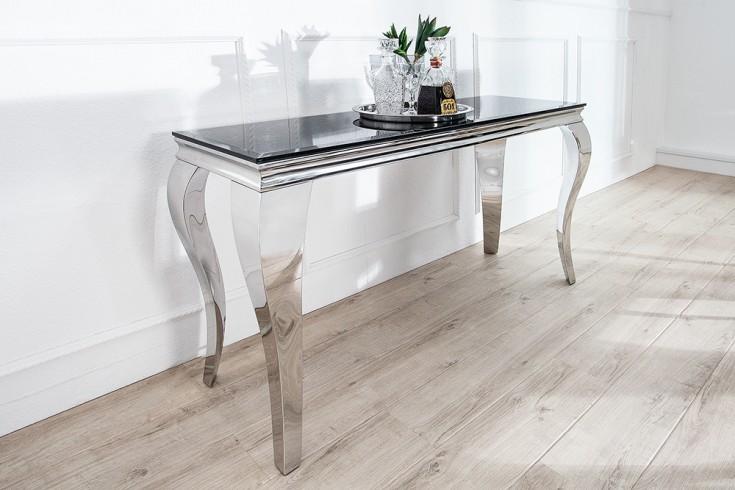 Monumentaler Konsolentisch MODERN BAROCK silber 140 cm Tischbeine aus poliertem Edelstahl mit Opalglas