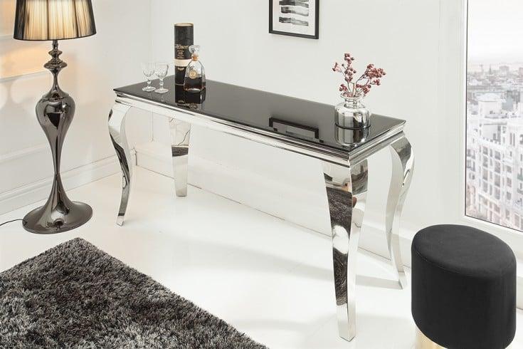 Eleganter Konsolentisch MODERN BAROCK 140cm schwarz Edelstahl Opalglas Tischplatte