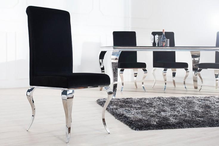 Monumentaler Stuhl MODERN BAROCK schwarz Stuhlbeine aus Edelstahl mit Negro Samt
