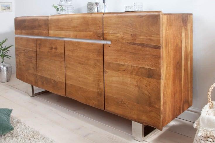 Massives Baumstamm Sideboard MAMMUT 170cm Akazie Kufengestell aus Edelstahl