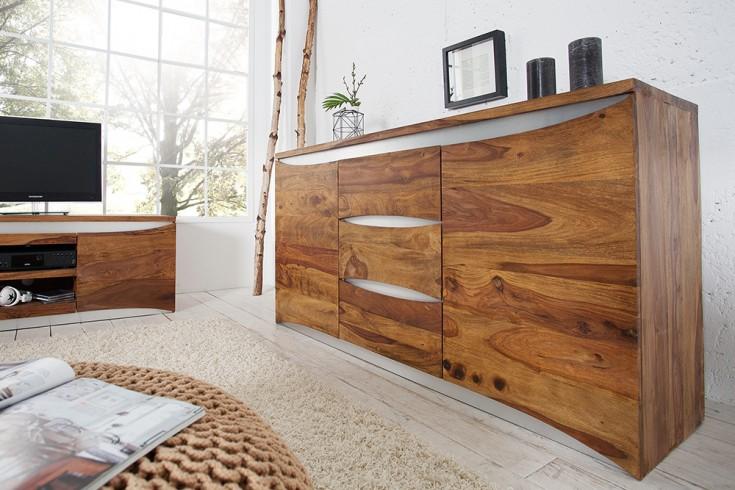 Modernes Sideboard ELEMENTS 160 cm Symbiose massives Palisander Sheesham mit Edelstahlfront