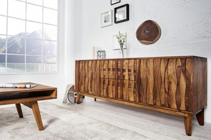 Design Sideboard RETRO 160 cm Sheesham stone finish Design Klassiker