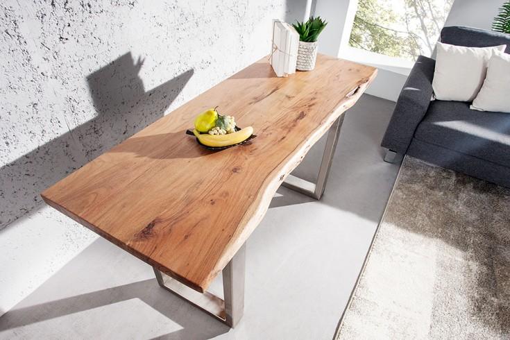 Massive Konsole MAMMUT 140cm mit Massivholz Akazie 3,5cm dicke Tischplatte verchromte Kufenfüße