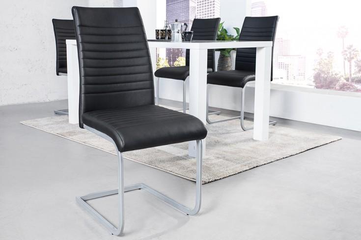 Moderner Freischwinger Stuhl DERBY schwarz Chromgestell matt lackiert