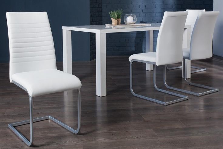 moderner freischwinger stuhl derby wei chromgestell matt. Black Bedroom Furniture Sets. Home Design Ideas