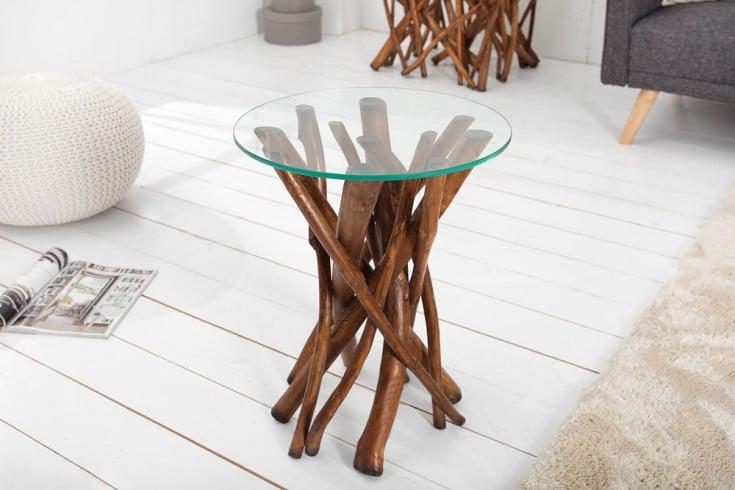 Design Teakholz Couchtisch DRIFTWOOD natur braun Beistelltisch mit Glasplatte rund