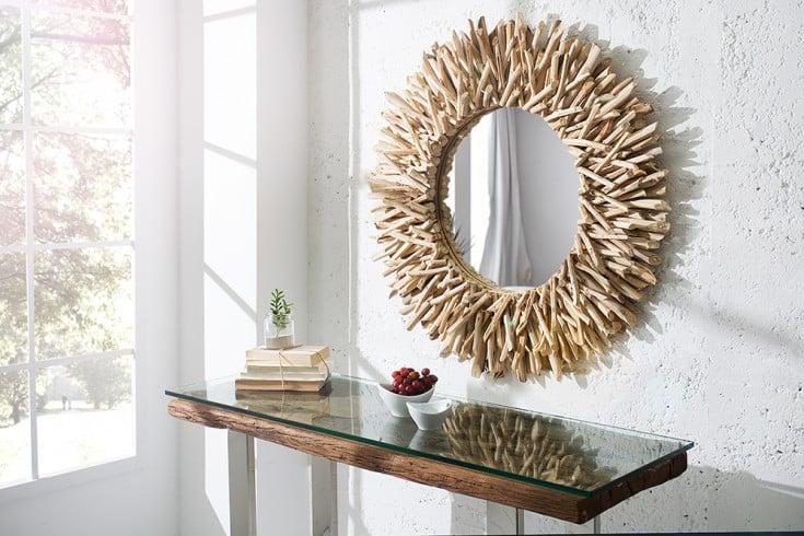 Außergewöhnlicher Treibholz Spiegel RIVERSIDE Teak 80cm