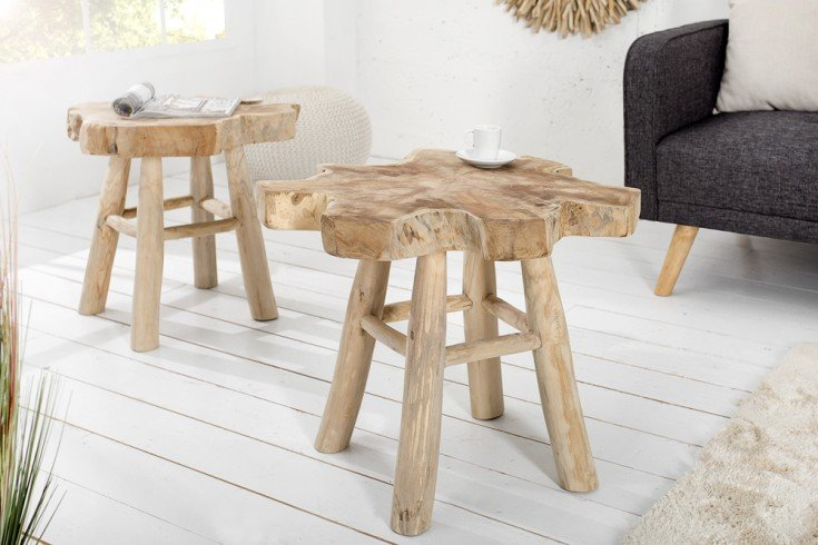 massiver teak baumscheiben couchtisch root 50cm beistelltisch aus echtholz mit jahresringen. Black Bedroom Furniture Sets. Home Design Ideas