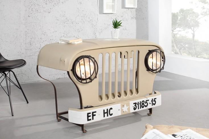 Konsole aus umgebautem Oldtimer Geländewagen 130 cm beige Ablagetisch inkl. Lichtanlage