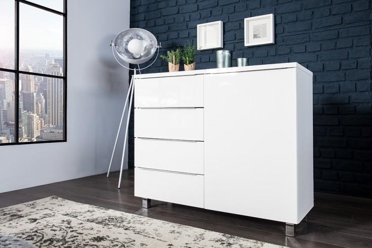 Moderne Design Kommode LUCENTE 100cm High Gloss weiss Sideboard Anrichte