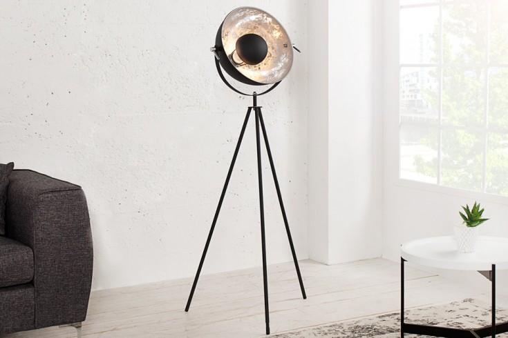 Moderne Design Stehlampe STUDIO schwarz silber 140cm Lampe mit Blattsilber