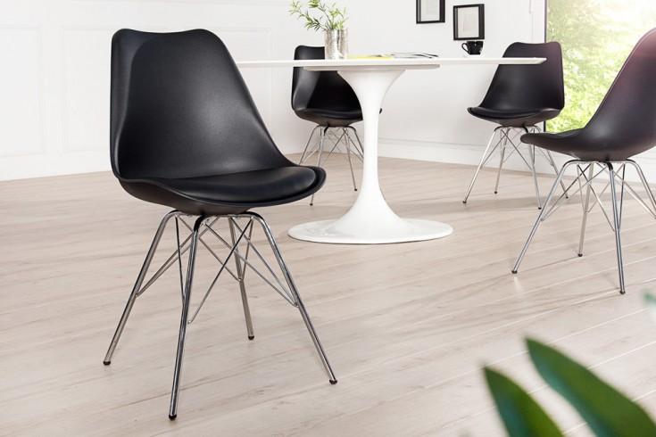 Retro Designklassiker Stuhl SCANDINAVIA MEISTERSTÜCK schwarz mit hochwertig verchromten Stuhlgestell