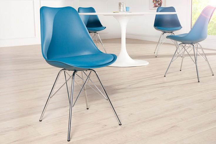 Retro Designklassiker Stuhl SCANDINAVIA MEISTERSTÜCK blau mit hochwertig verchromten Stuhlgestell