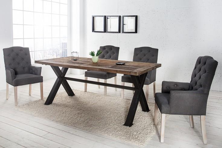 Stuhl castle mit armlehnen grau mit chesterfield steppung for Stuhl armlehne grau