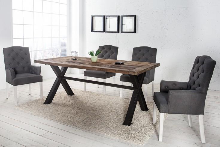 Eleganter Chesterfield Stuhl CASTLE grau mit Armlehnen im Landhausstil