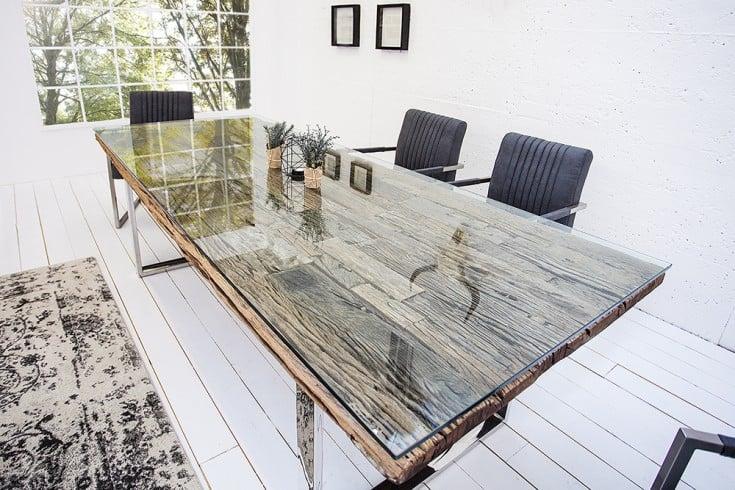 Massiver Esstisch BARRACUDA 180cm antik Teak Holz mit Stahl Kufenfüßen inkl. Glasplatte
