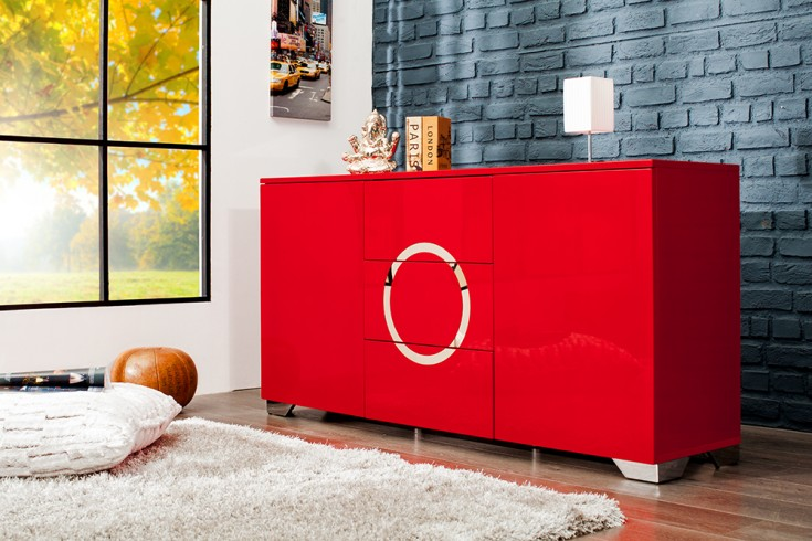 exklusives sideboard zen hochglanz rot 160cm mit edelstahl. Black Bedroom Furniture Sets. Home Design Ideas