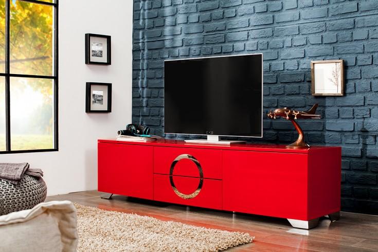 Exklusives TVLowboard ZEN Hochglanz rot 180cm mit  -> Tv Lowboard Edelstahl