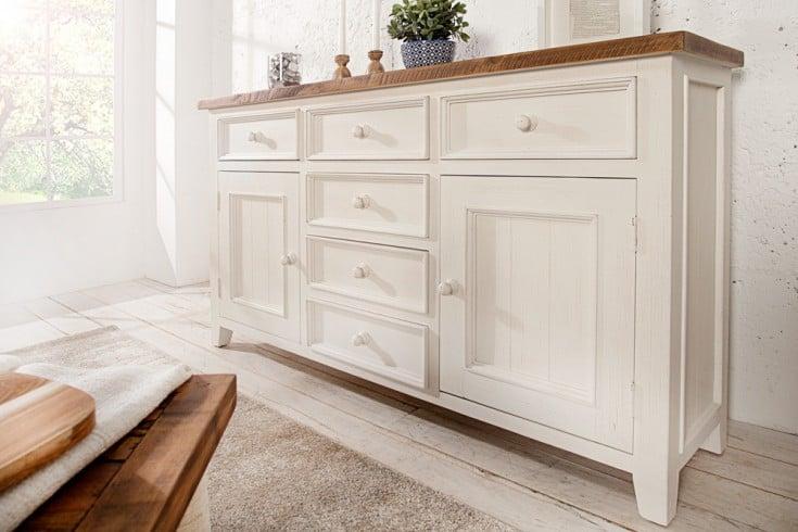 Hochwertiges Sideboard BYRON 160 cm Pinienholz weiß vintage braun