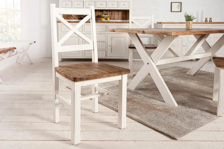 Hochwertiger Stuhl BYRON Kiefernholz weiss vintage braun